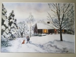A painting by Ali's great-grandmother of Ali's dad and his infamous dog, Farrah, shortly before the Christmas candy episode.